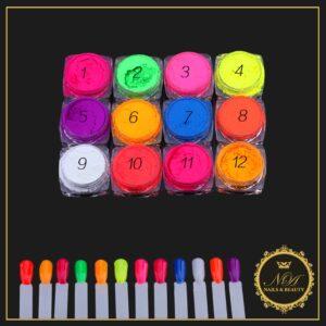 Pigmenti Neon Unghii Set 12 Bucati