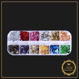 Set 12 folii transfer color staniol autocolante accesorii manichiură